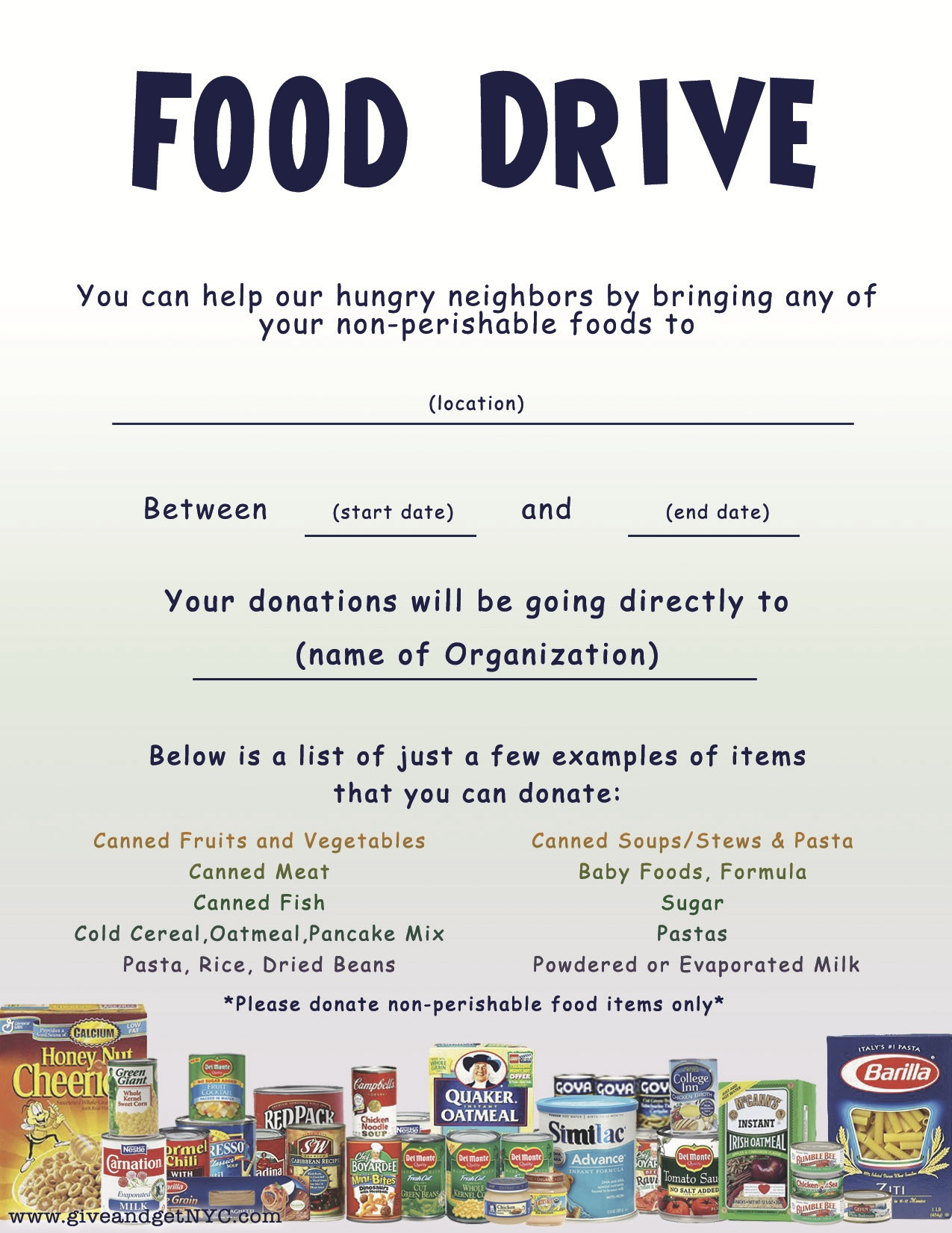 School Canned Food Drive Flyer